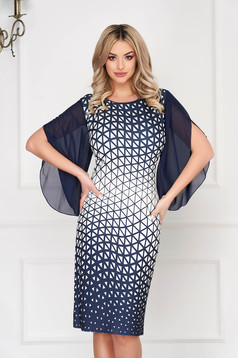 StarShinerS darkblue dress elegant midi pencil with veil sleeves with graphic details