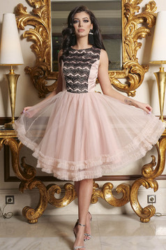 Pink dress occasional short cut cloche from tulle with lace details