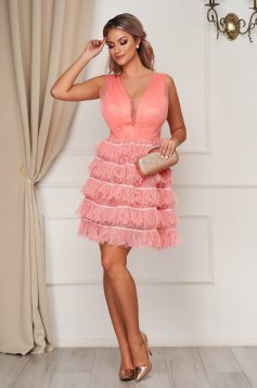 Coral dress occasional short cut cloche from tulle with v-neckline sleeveless