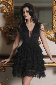 Black dress occasional short cut cloche from tulle with v-neckline sleeveless