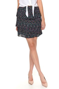 Black skirt casual short cut from veil fabric with ruffle details