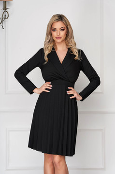Black dress office short cut cloche folded up long sleeved with v-neckline