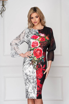 Black dress elegant pencil cloth thin fabric midi with floral print