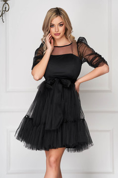 Black dress occasional short cut from tulle high shoulders