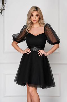 Black dress occasional short cut cloche from veil fabric buckle accessory with puffed sleeves