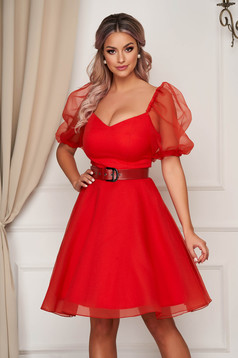 Coral dress occasional short cut cloche from veil fabric buckle accessory with puffed sleeves