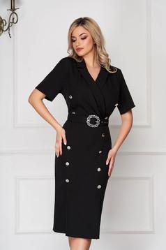 Black dress midi pencil elegant cloth thin fabric with button accessories