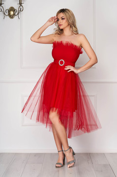 Red dress occasional short cut cloche asymmetrical from tulle strapless