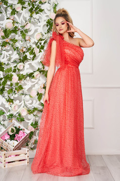 Coral dress occasional long cloche one shoulder plumeti from tulle