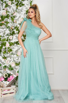 Mint dress occasional long cloche one shoulder plumeti from tulle