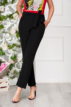 Black trousers elegant straight with pockets