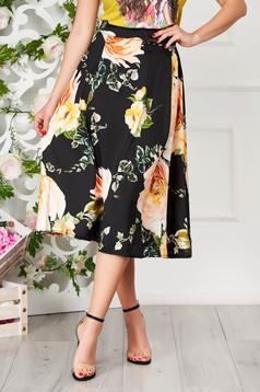 Black skirt elegant midi cloche with floral print