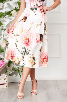Fusta SunShine alba eleganta midi in clos cu imprimeu floral
