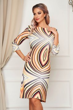 StarShinerS cappuccino dress elegant daily midi pencil with rounded cleavage with graphic details