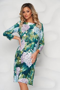 Rochie verde eleganta midi de zi tip creion cu maneci trei-sferturi si imprimeu floral