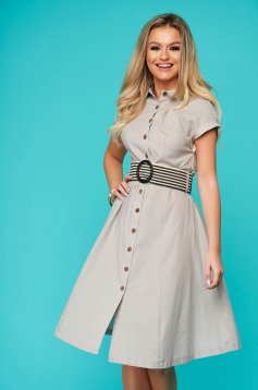 Lightgrey dress midi cloche thin fabric short sleeves