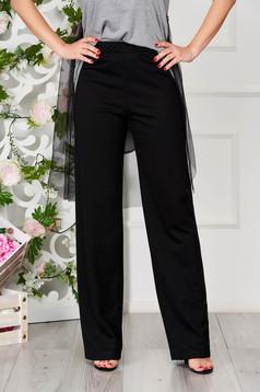 Pantaloni training StarShinerS negri casual din bumbac evazati cu elastic in talie