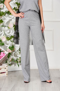 StarShinerS grey trousers casual cotton flared with elastic waist