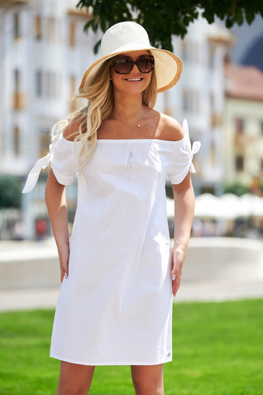 White dress casual short cut flared cotton naked shoulders