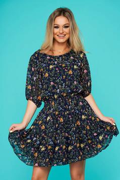Darkblue dress daily short cut cloche from veil fabric short sleeves