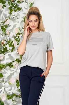Tricou SunShine gri casual din bumbac usor elastic cu print cu mesaje