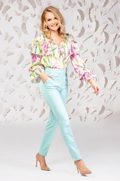 Pantaloni PrettyGirl turcoaz conici din stofa subtire usor elastica