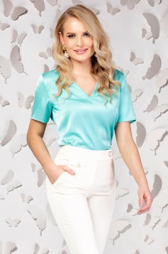 Women`s blouse turquoise office short cut tented with v-neckline short sleeve