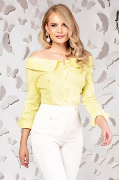 Women`s shirt yellow elegant tented naked shoulders cotton
