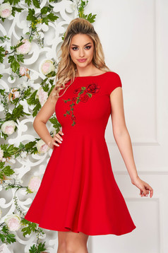 StarShinerS red dress elegant short cut cloche short sleeves