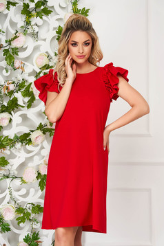 StarShinerS red dress daily short cut flared with ruffled sleeves
