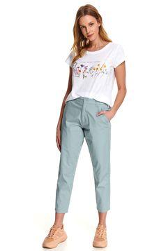 Pantaloni Top Secret verzi casual cu un croi drept si buzunare
