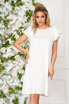 StarShinerS white dress daily short cut flared with ruffled sleeves