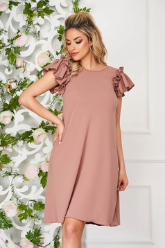 StarShinerS cappuccino dress daily short cut flared with ruffled sleeves