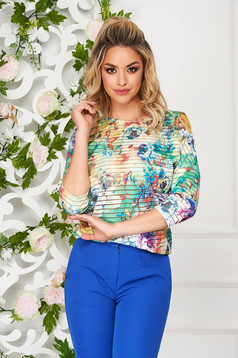 StarShinerS green women`s blouse elegant flared lycra with 3/4 sleeves