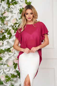 Women`s blouse StarShinerS raspberry elegant from veil fabric flared short sleeve with ruffle details
