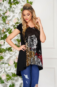 StarShinerS black t-shirt casual asymmetrical flared lycra with sequin embellished details