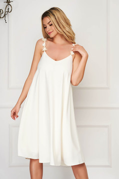 Dress StarShinerS cream elegant midi flared with straps with floral details