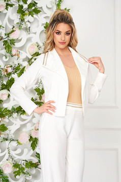 Cardigan StarShinerS white elegant scuba lateral pockets