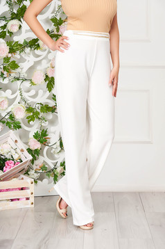 Trousers StarShinerS white elegant scuba with easy cut metallic chain accessory