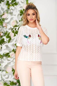 Women`s blouse white elegant flared short sleeves