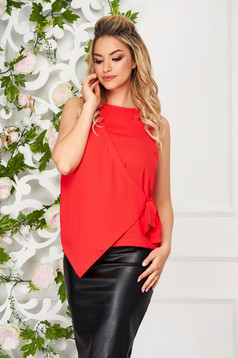Top shirt coral elegant asymmetrical from veil fabric sleeveless