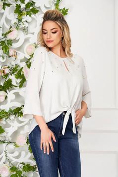 Bluza dama SunShine gri casual cu croi larg cu aplicatii cu perle si maneci clopot