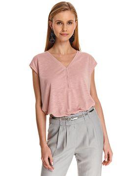 Bluza dama Top Secret roz deschis casual cu croi larg si decolteu in v