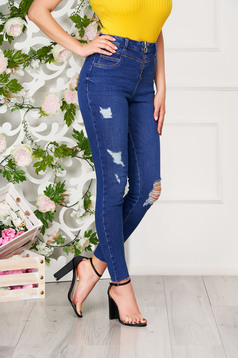 Blue jeans casual skinny jeans with pockets ripped