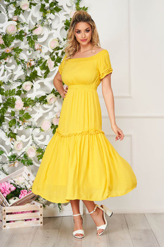 Dress yellow midi daily cloche wrinkled material naked shoulders