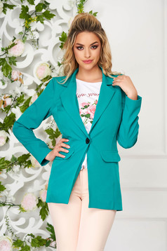 Turquoise jacket tented cloth with faux pockets office