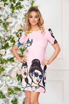 Lightpink dress daily a-line short cut short sleeves with graphic details