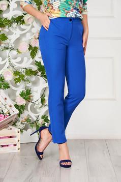 Pantaloni SunShine albastri office din stofa cu un croi drept cu buzunare
