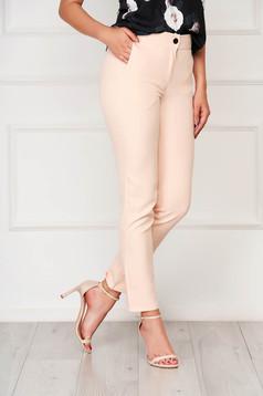Pantaloni SunShine roz prafuit office din stofa cu un croi drept cu buzunare