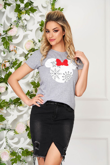 T-shirt grey casual flared neckline with graphic details